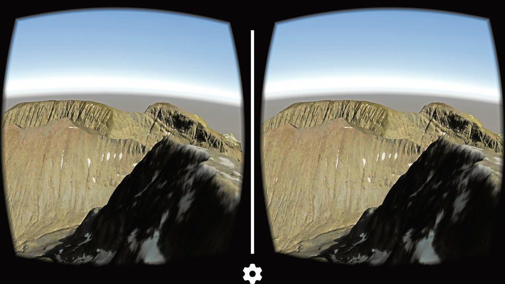 Ben Nevis seen through a virtual reality headset.