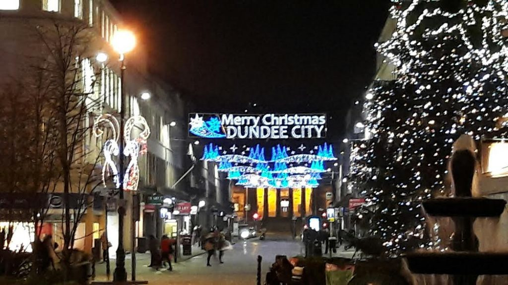 Crowds dispersing into the Dundee night....