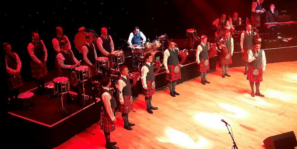 The Pipes and Drums of the Leuchars-based Royal Scots Dragoon Guards perform at the Caird Hall in Dundee