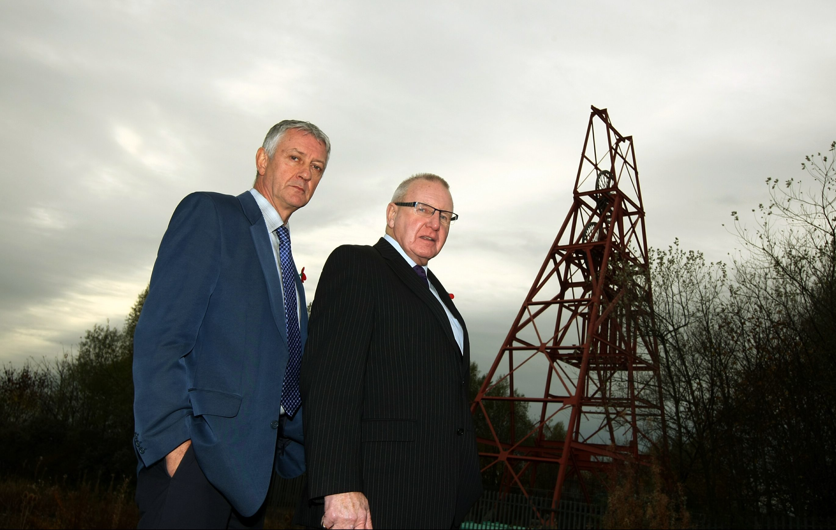 Councillors Tom Adams and Bob Young, at the former Frances Colliery.