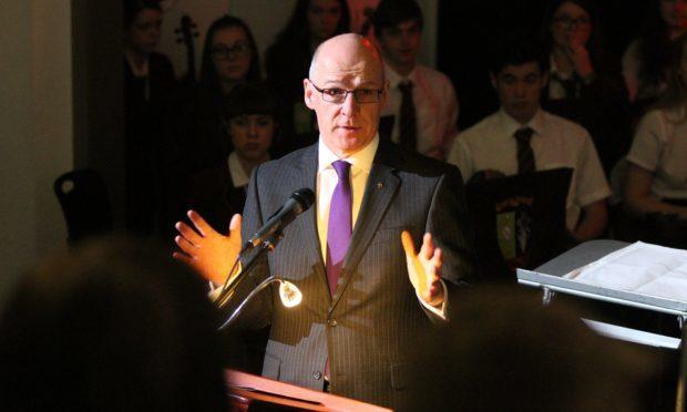 John Swinney speaks at  Harris Academy in Dundee.