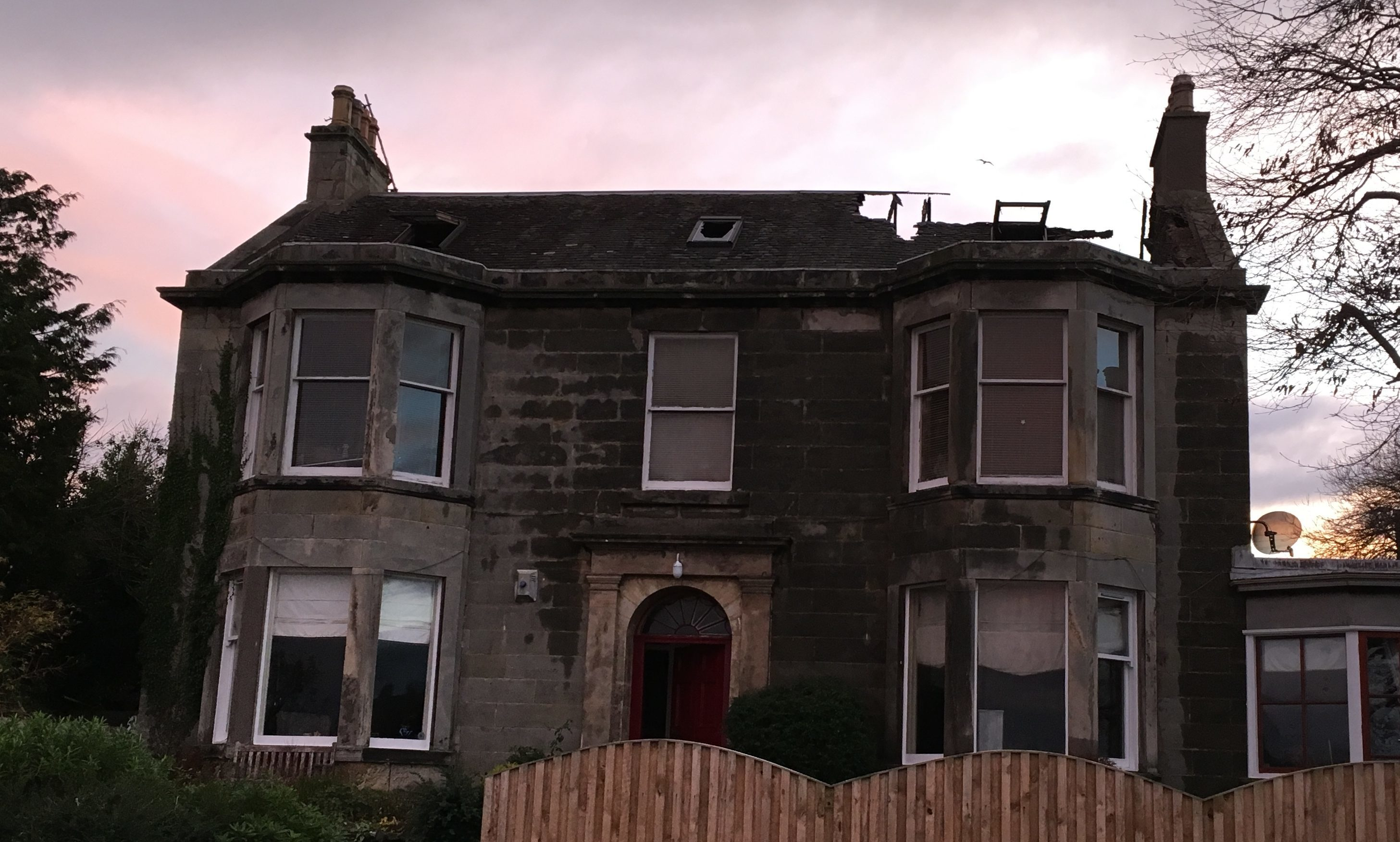 The villa sustained major damage in the blaze.