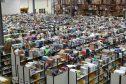 Inside the Amazon warehouse near Dunfermline.