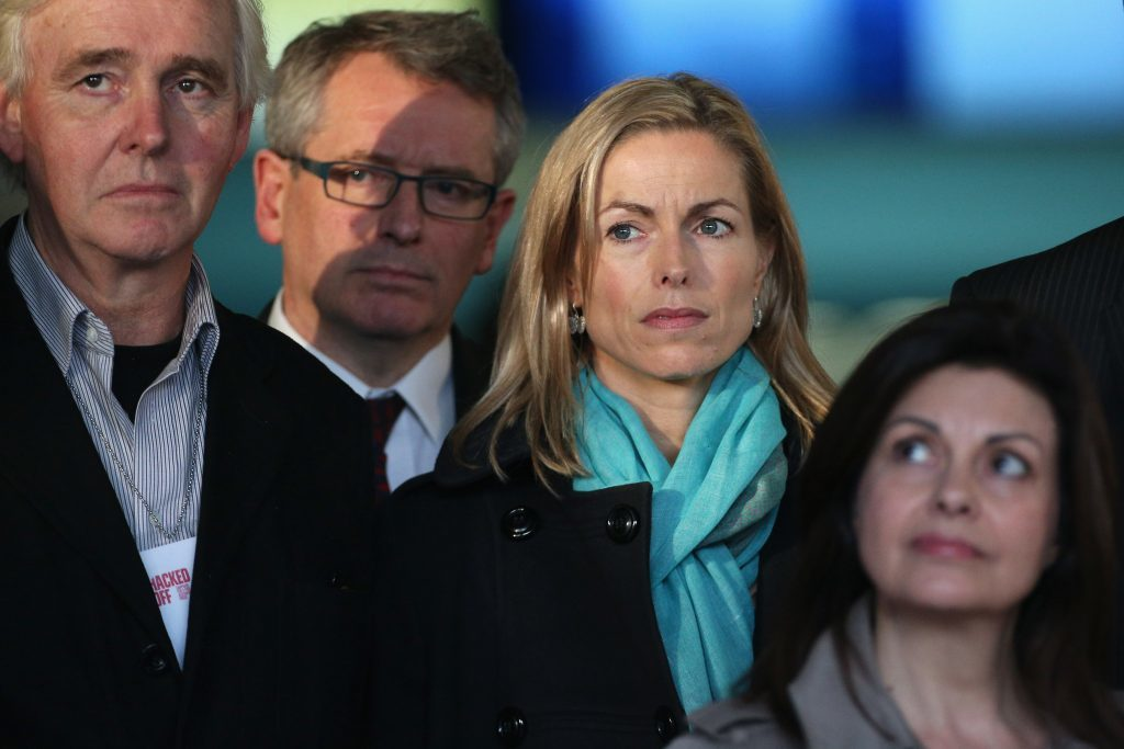 Kate McCann (C) joins members of the 'Hacked Off' campaign group to address the media outside the Queen Elizabeth II conference centre following the publishing of the Leveson Inquiry on November 29, 2012.