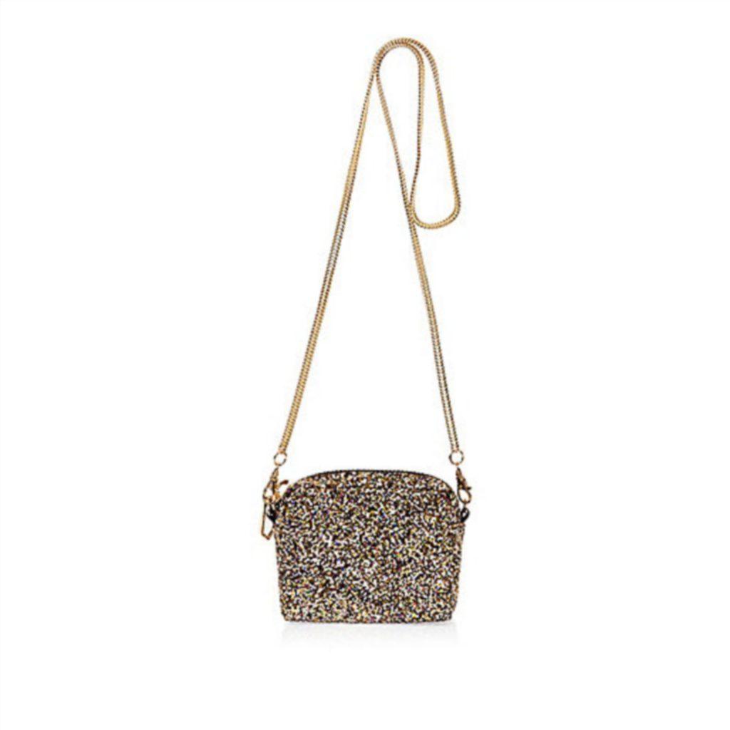 Gold glitter mini chain bag from River Island, £18.