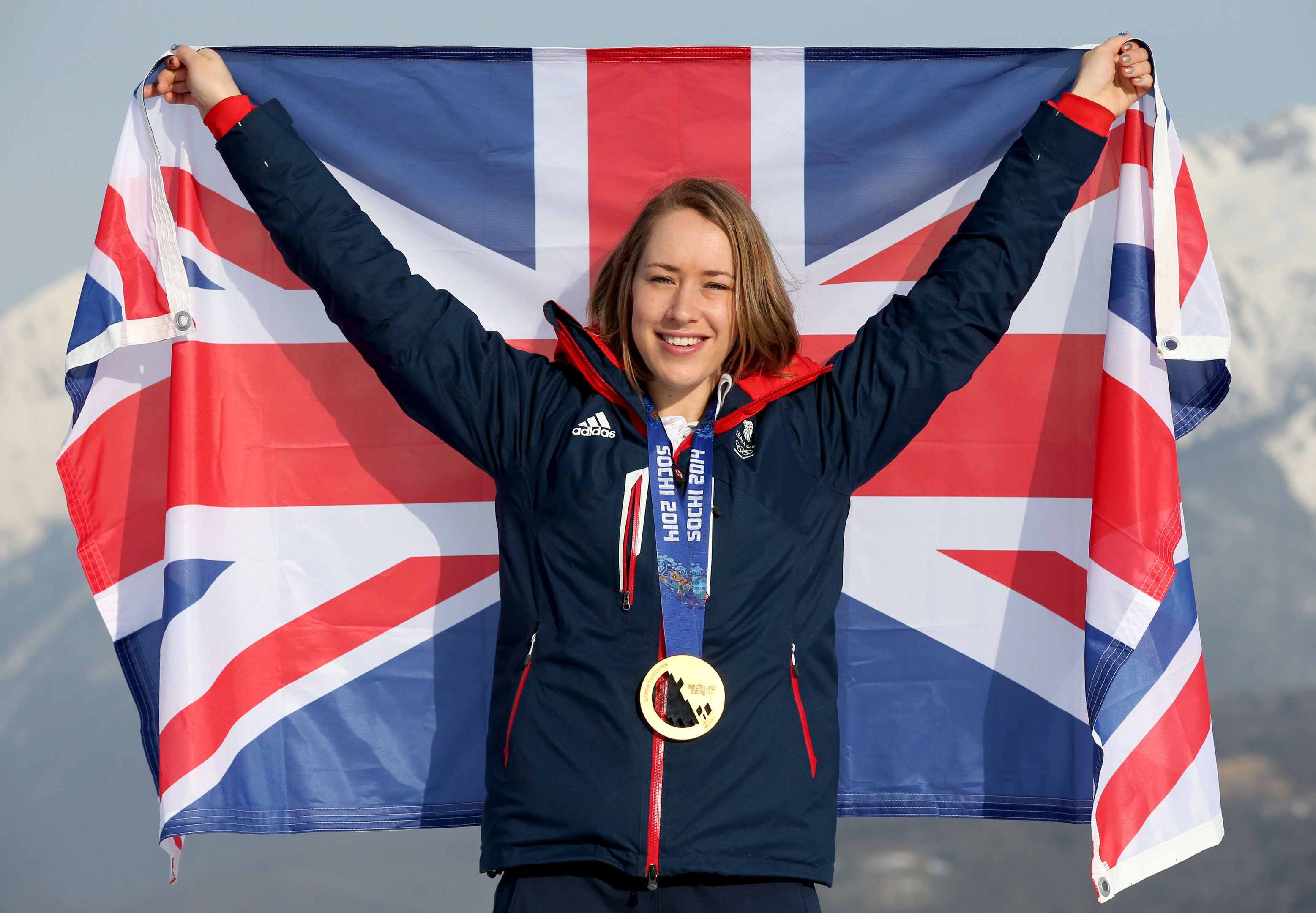 Lizzy Yarnold in Sochi when she won her Olympic gold.
