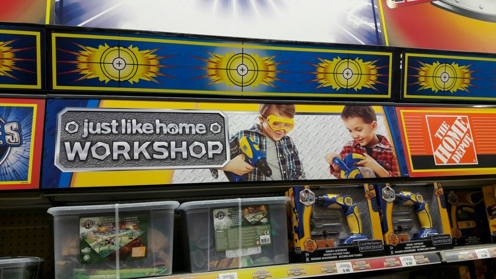 Workshop sets marketed for boys on sale at Toys R Us in Dundee