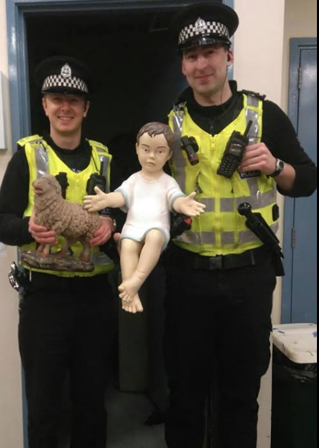 The baby Jesus returned to the safety of Police Scotland.