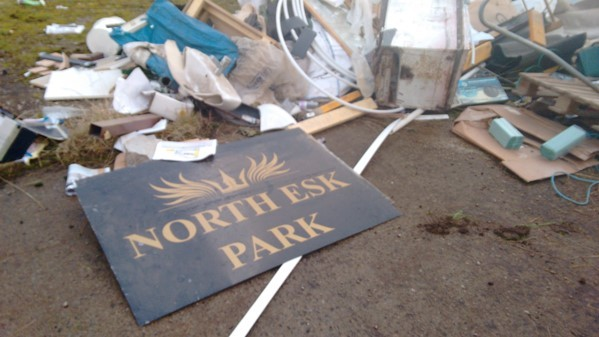 Rubbish was gathered before it was burnt at the former piggery