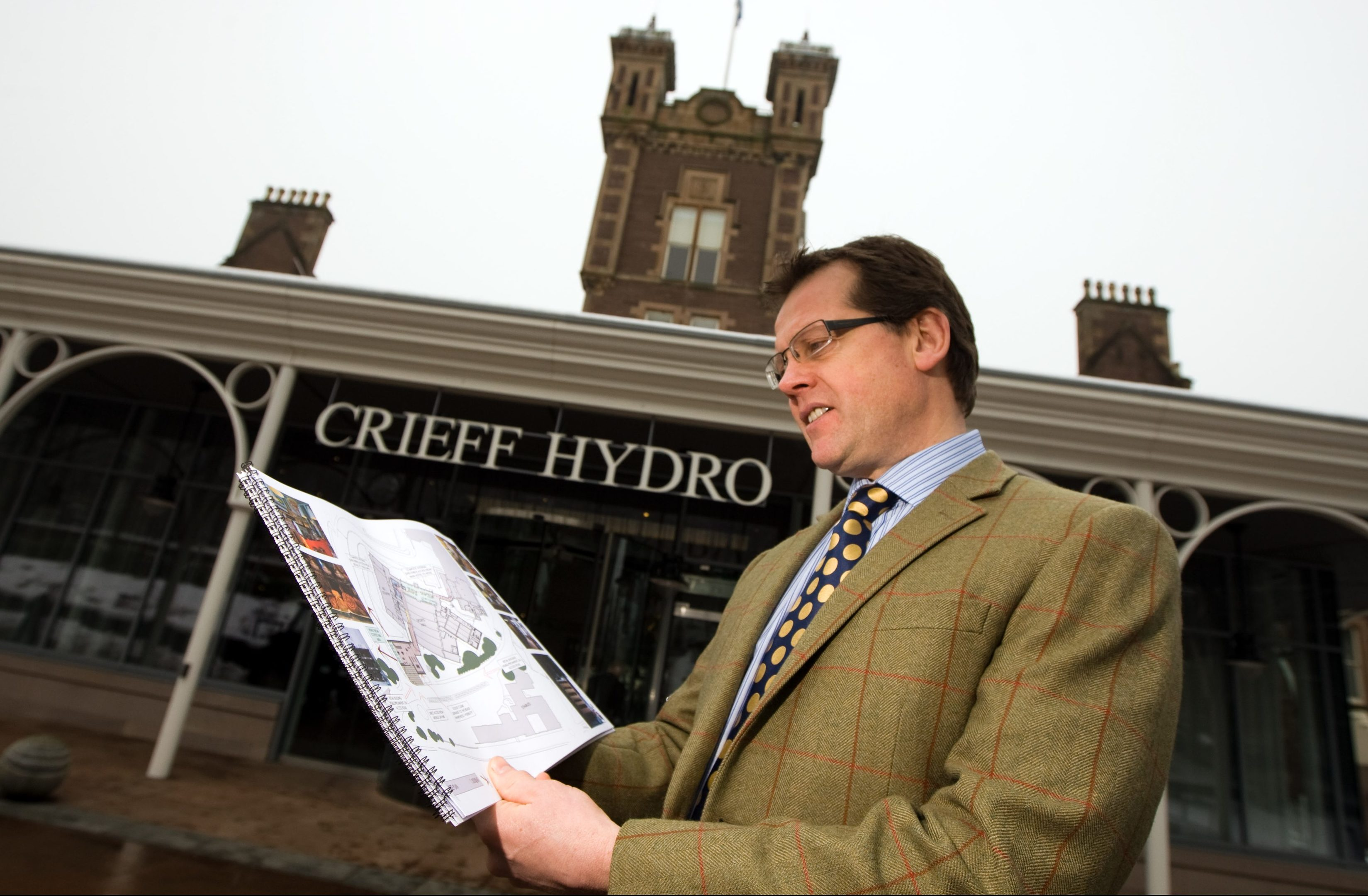 Stephen Leckie with the Crieff Hydro East development plans.