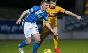 17/12/16 LADBROKES PREMIERSHIP     ST JOHNSTONE v MOTHERWELL    MCDIARMID PARK - PERTH    Motherwell's Chris Cadden and St Johnstone's Brian Easton (L) in action