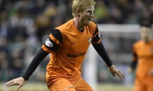 Thomas Mikkelsen on his debut for Dundee United against Hibs.