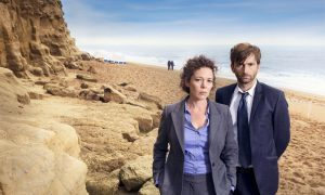 David Tennant and Olivia Colman in their roles as Detective Inspector Alec Hardy and Detective Sergeant Ellie Miller in Broadchurch.
