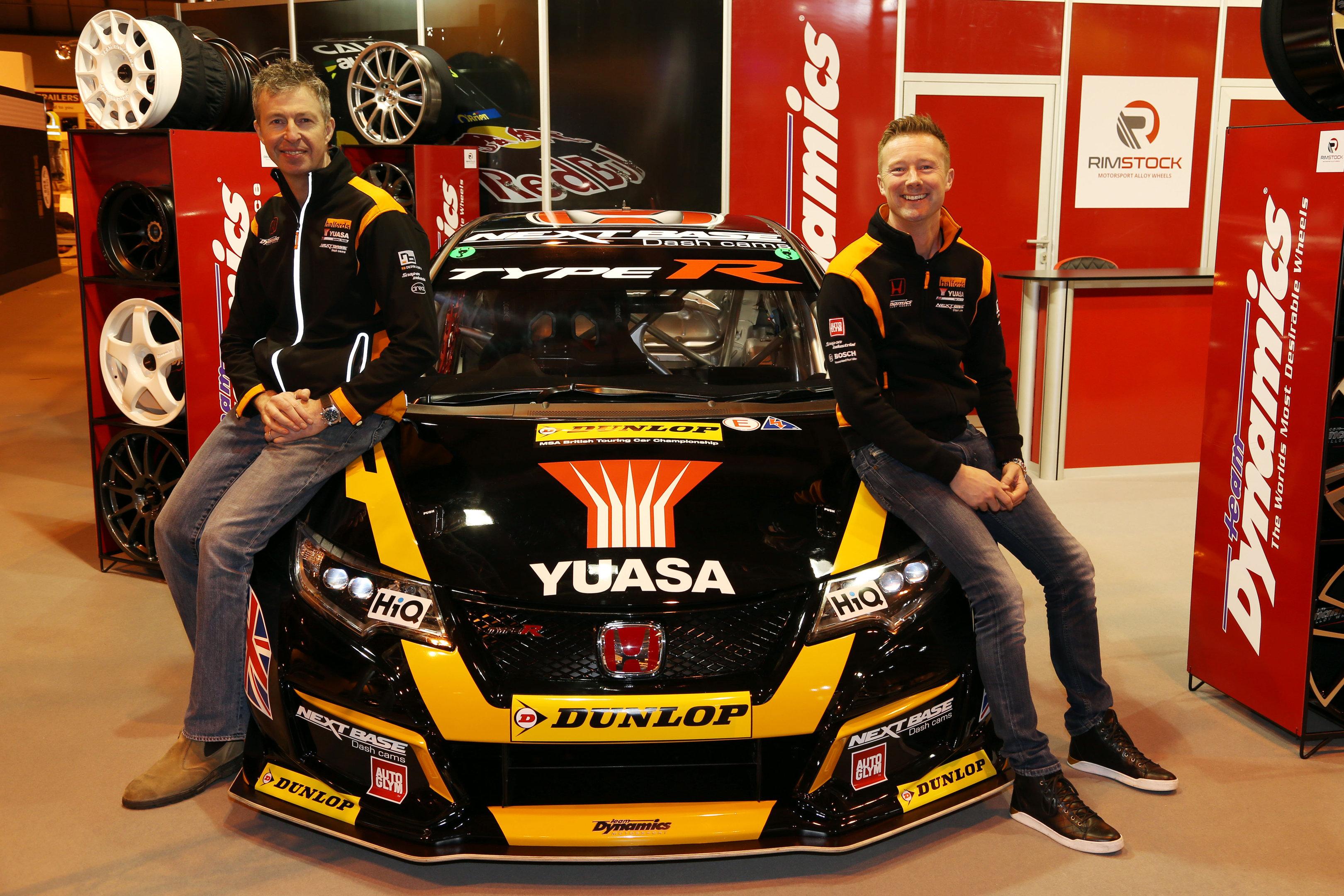 Gordon Shedden and teammate Matt Neal with the 2017 Honda Yuasa Racing Civic Type R BTCC contender