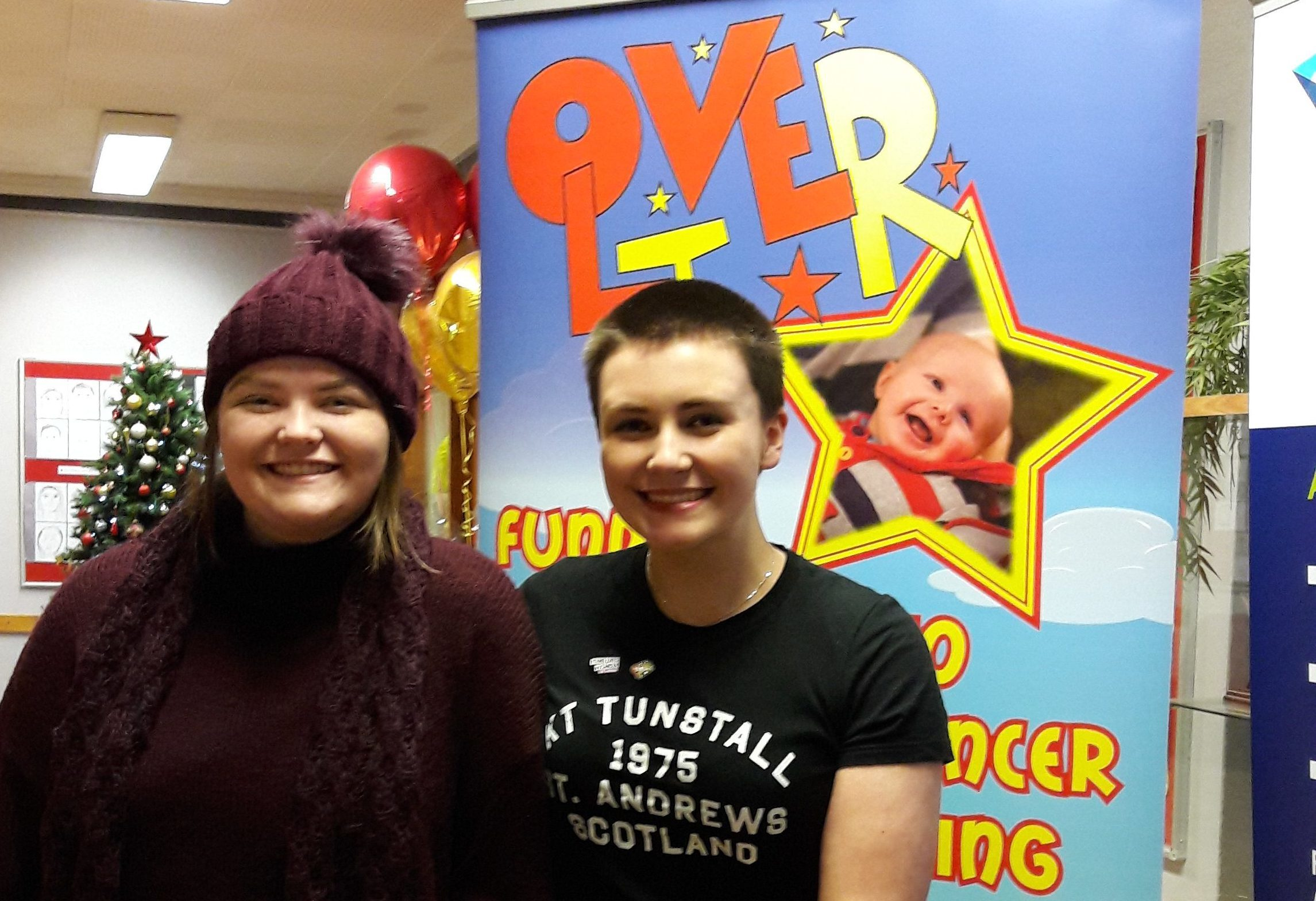 Jade Dowie with friend Jasmine Doyle after her head shave.
