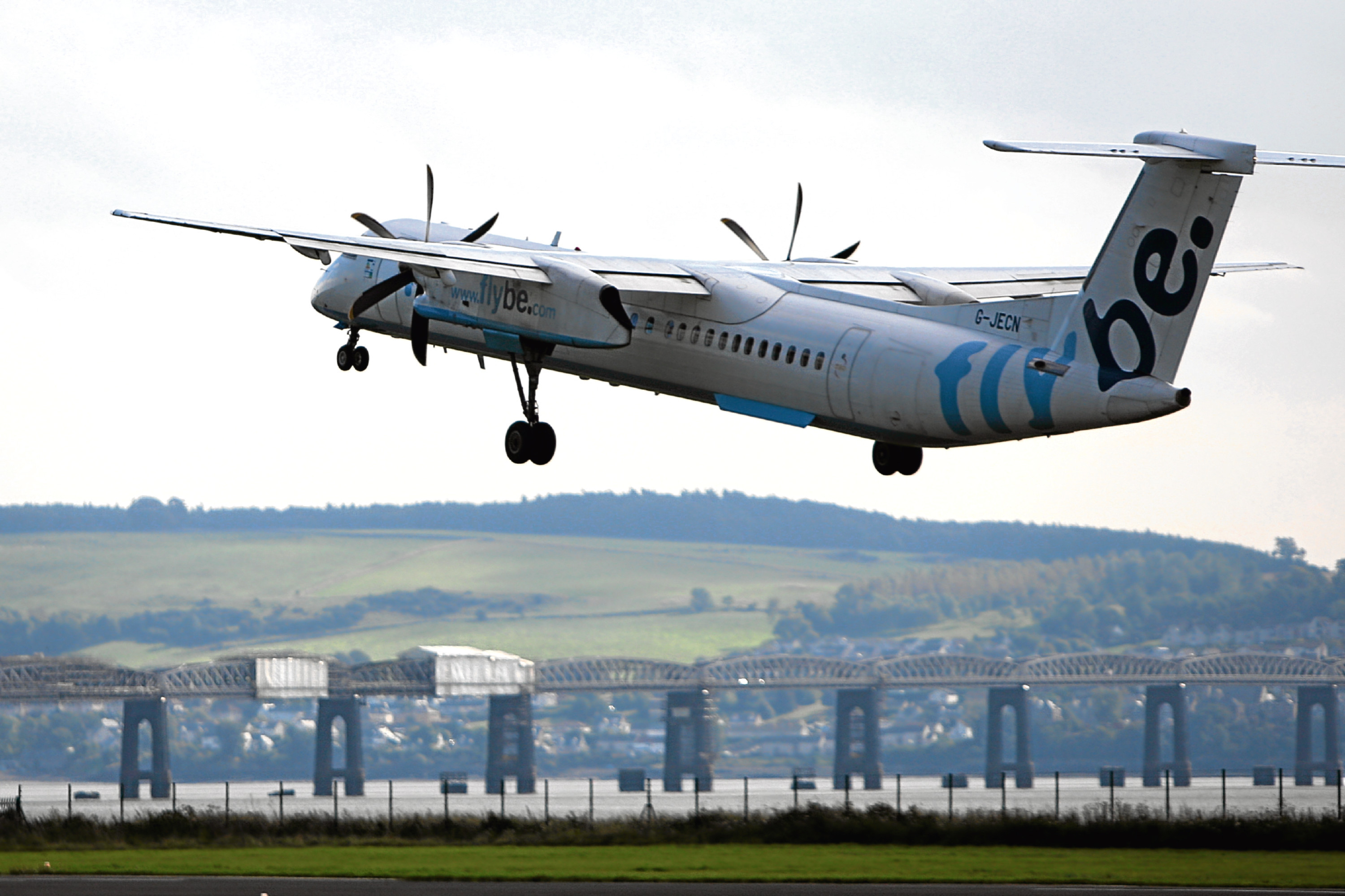 A FlyBe flight taking off from Dundee for Amsterdam. Flights were later scrapped.