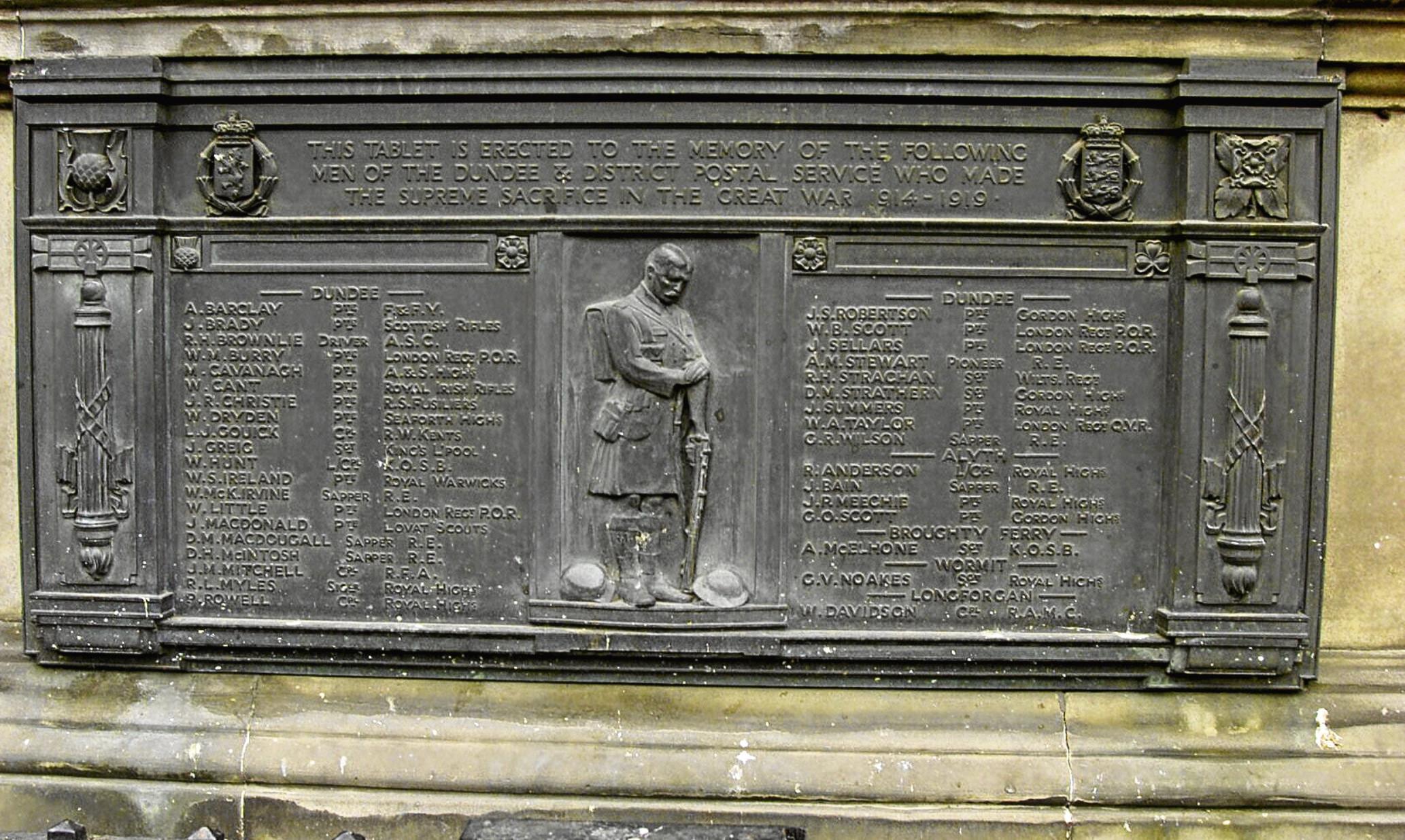 The Post Office war memorial.