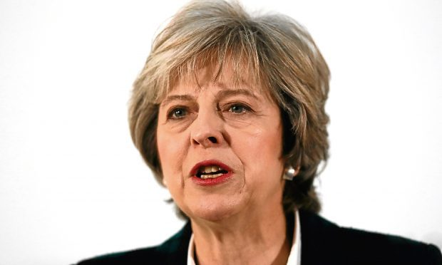 Prime Minister Theresa May speaking at Lancaster House in London where she outlined her plans for Brexit,.