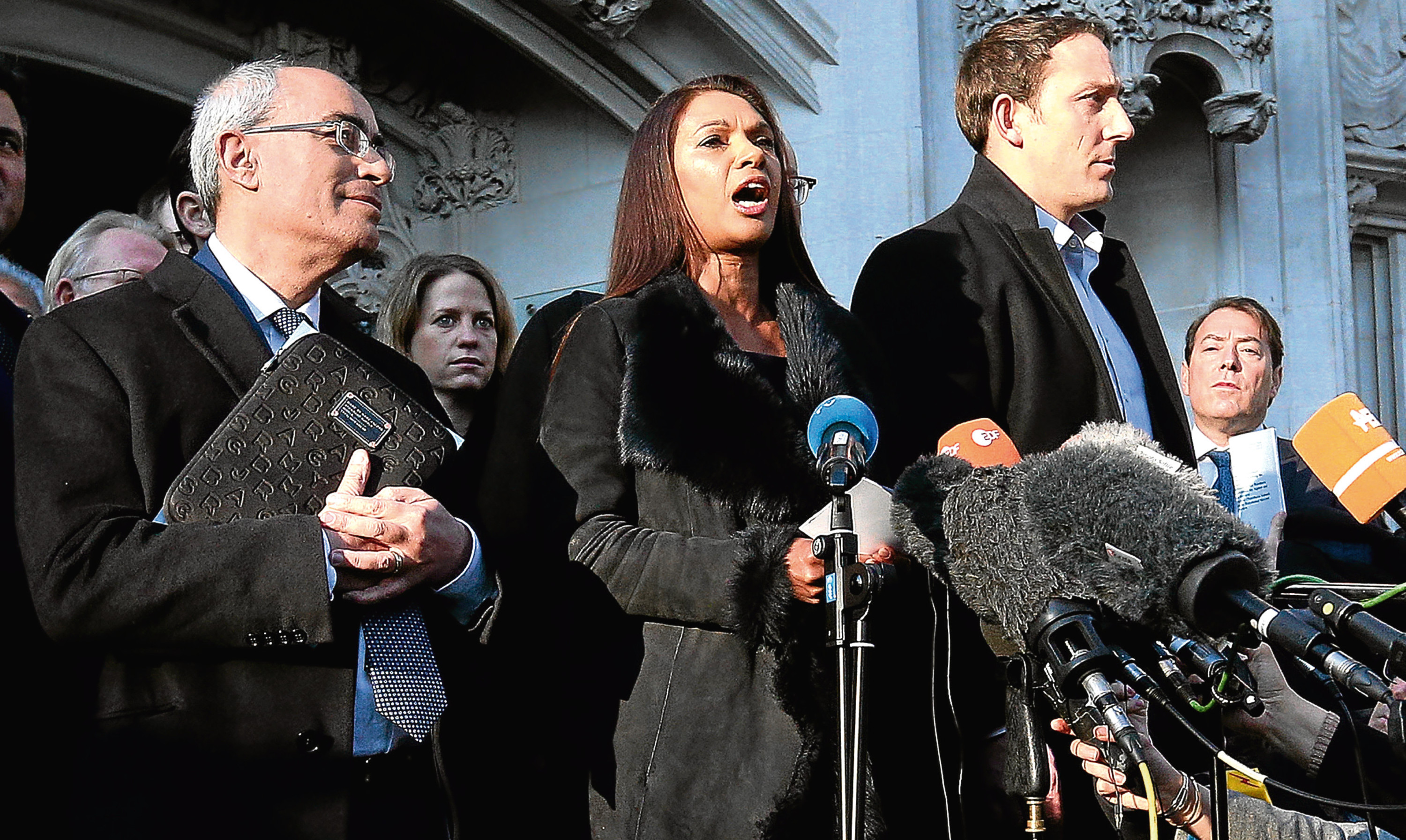 Anti-Brexit campaigner Gina Miller speaks outside the Supreme Court in London following its majority ruling against the Government.