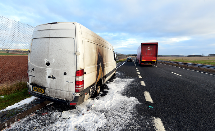 Van fire on the A90 north of Laurencekirk. Picture by Kami Thomson