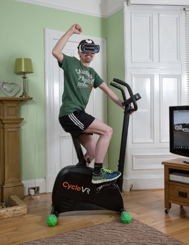 Aaron Puzey cycled across Britain in virtual reality, without leaving his living room.