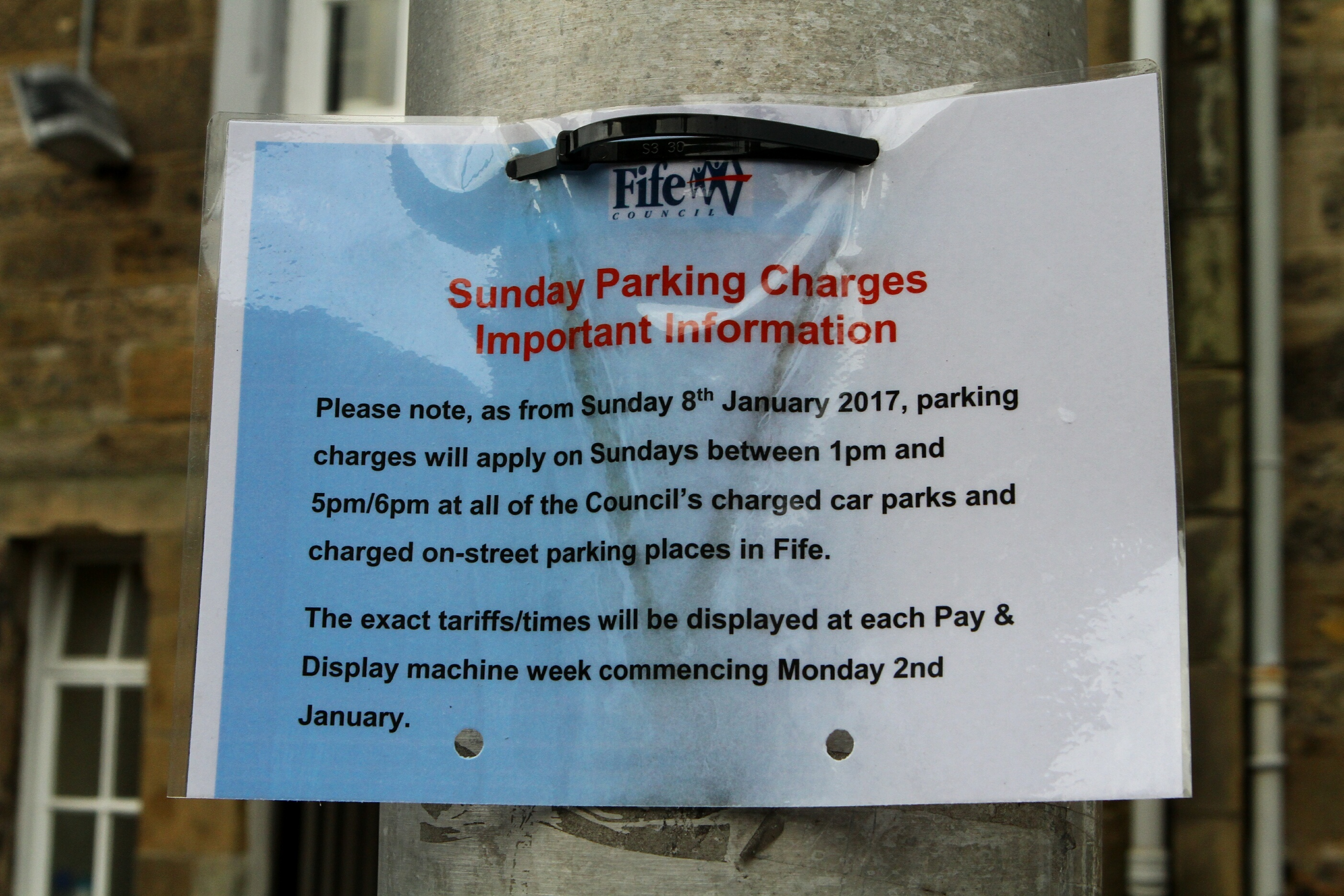 A notice of the changes in St Andrews on Sunday.