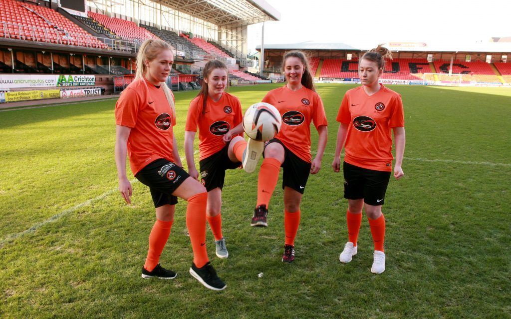 Members of Dundee United Women's Football Club which formed in 2015. L-r, team captain Fiona Mearns, Layla Strachan, Kiera Johnstone, Chelsey Lownie.