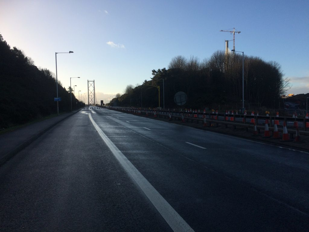 Deserted roads that would normally carry thousands of vehicles at morning rush-hour.