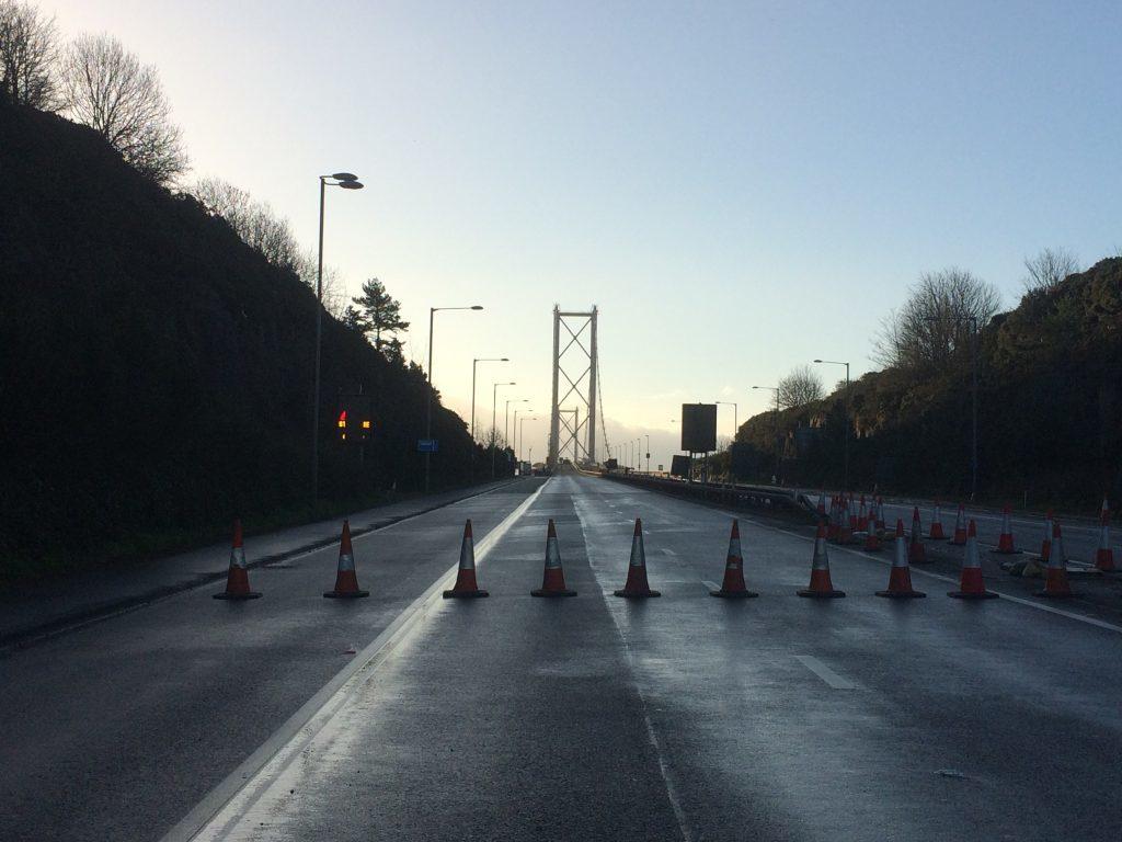 The closure north of the bridge.