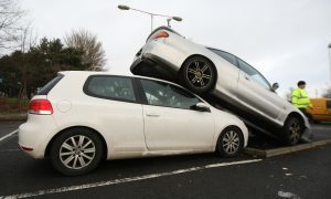 An unexplained car pile-up at Kirkcaldy rail station
