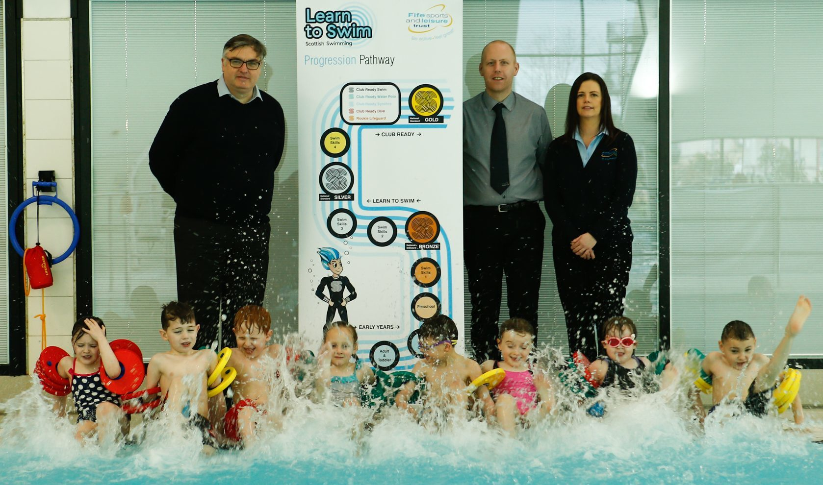 Councillor Hood at the launch of a learn to swim programme