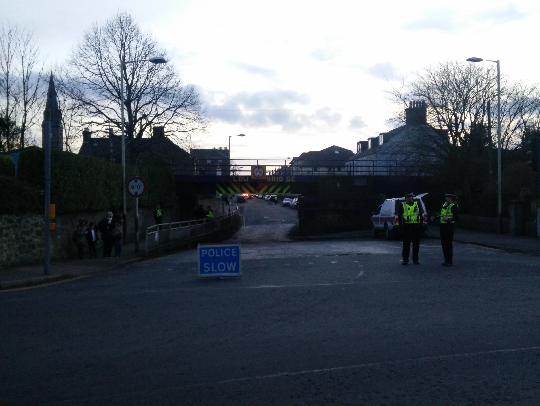 The van struck the underside of the rail bridge on St Vincent Street