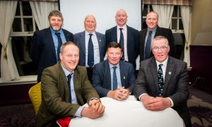 Courier News - Perth - Nancy Nicolson Story. NFU Scotland Elections for President 2017 (hustings). Picture shows (front row, left to right) Rob Livesey, Allan Bowie and Andrew McCornick; all are candidates for President. Back row, left to right is Martin Kennedy (Vice President candidate), Roddy Kennedy (East Central Chairman), Gary Mitchell (Vice President candidate) and Tom French (Vice President candidate). Huntingtower Hotel, West Huntingtower, Perth. Thursday 12th January 2017.