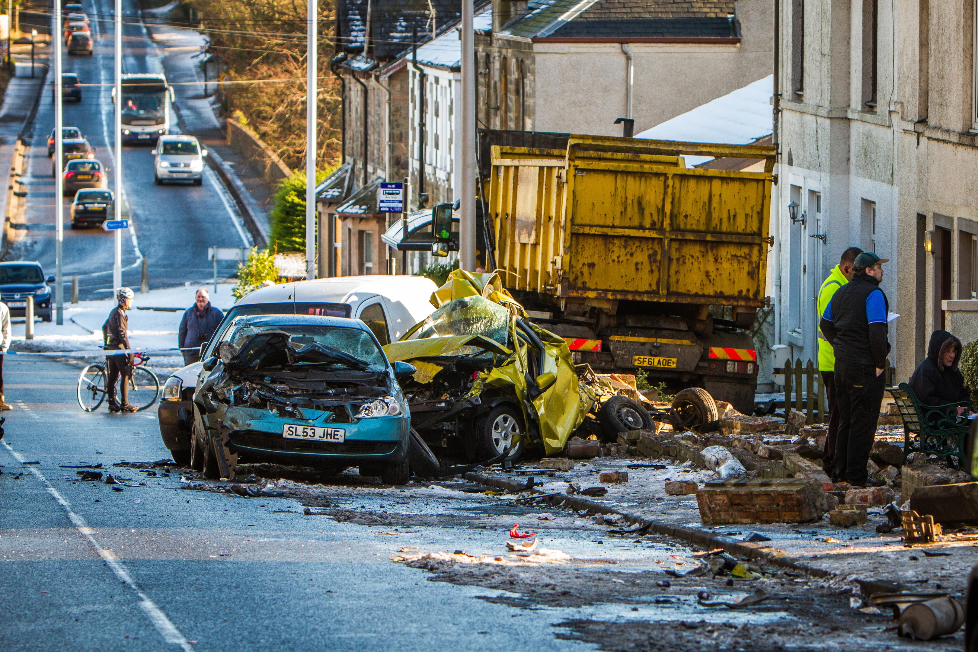 The devastating scene on Cupar Road, Guardbridge