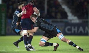 One of the 17 tackles made by Glasgow skipper Jonny Gray against Munster.