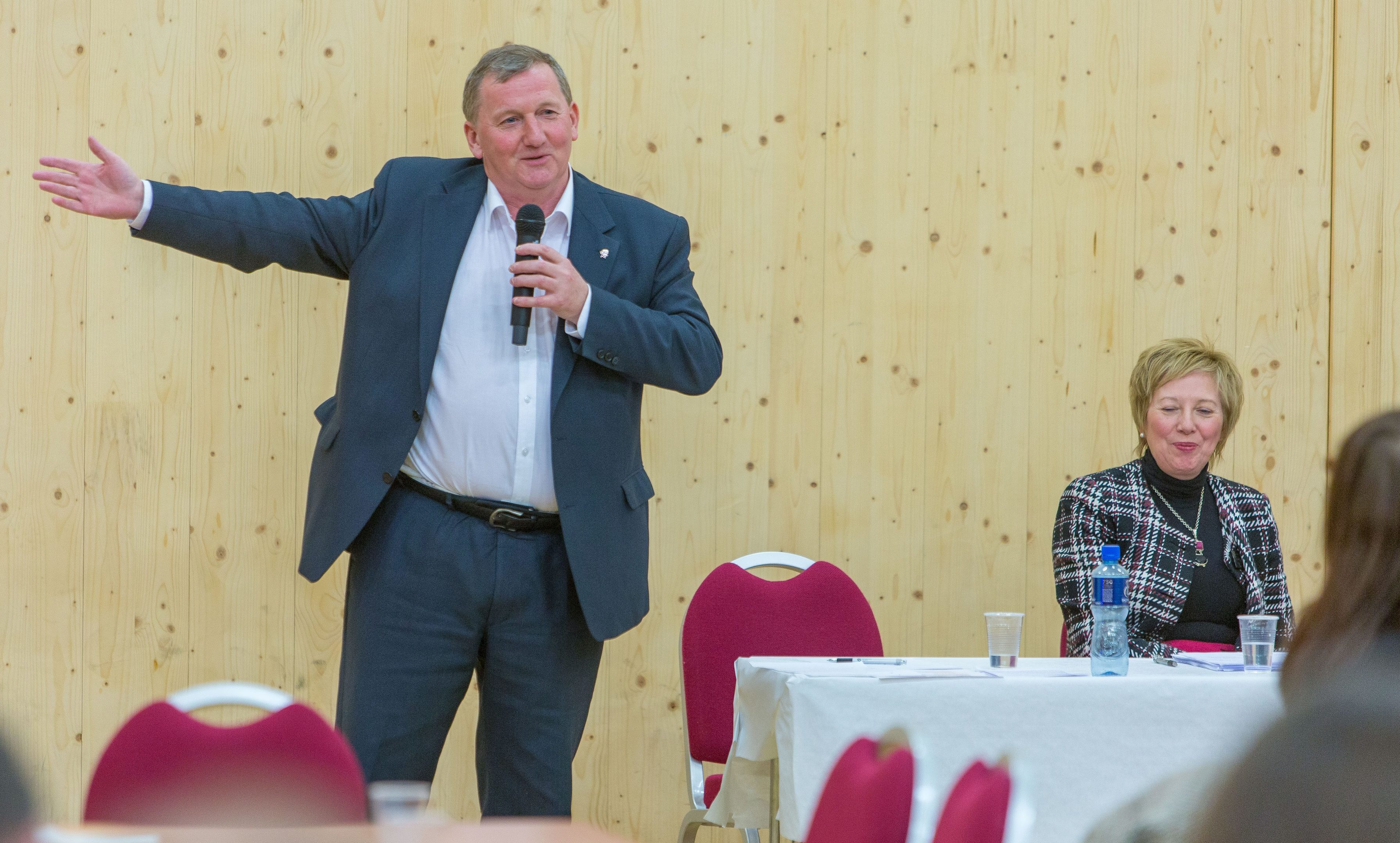 Alex Rowley speaks at Saturday's event.
