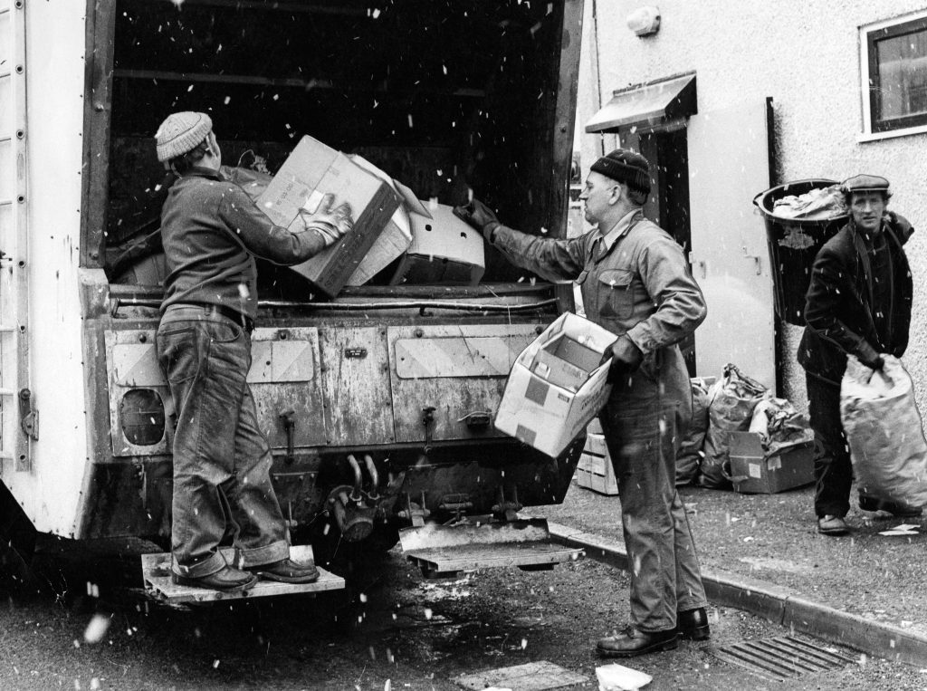 Real life bin men at work in Dundee in 1975