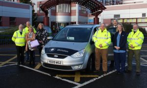 Pictured from left to right are Lawson Rennie, St John Scotland Fife, Chris Cooke, volunteer driver, Caitlyn Dudgeon, volunteer driving assistant, Louise McNeill, clinical nurse manager, Roland Robertson, volunteer driver, Ewen MacDonald, St John Scotland Fife, Katharine MacPherson, charge nurse, Findlay Macrae, St John Scotland Fife.