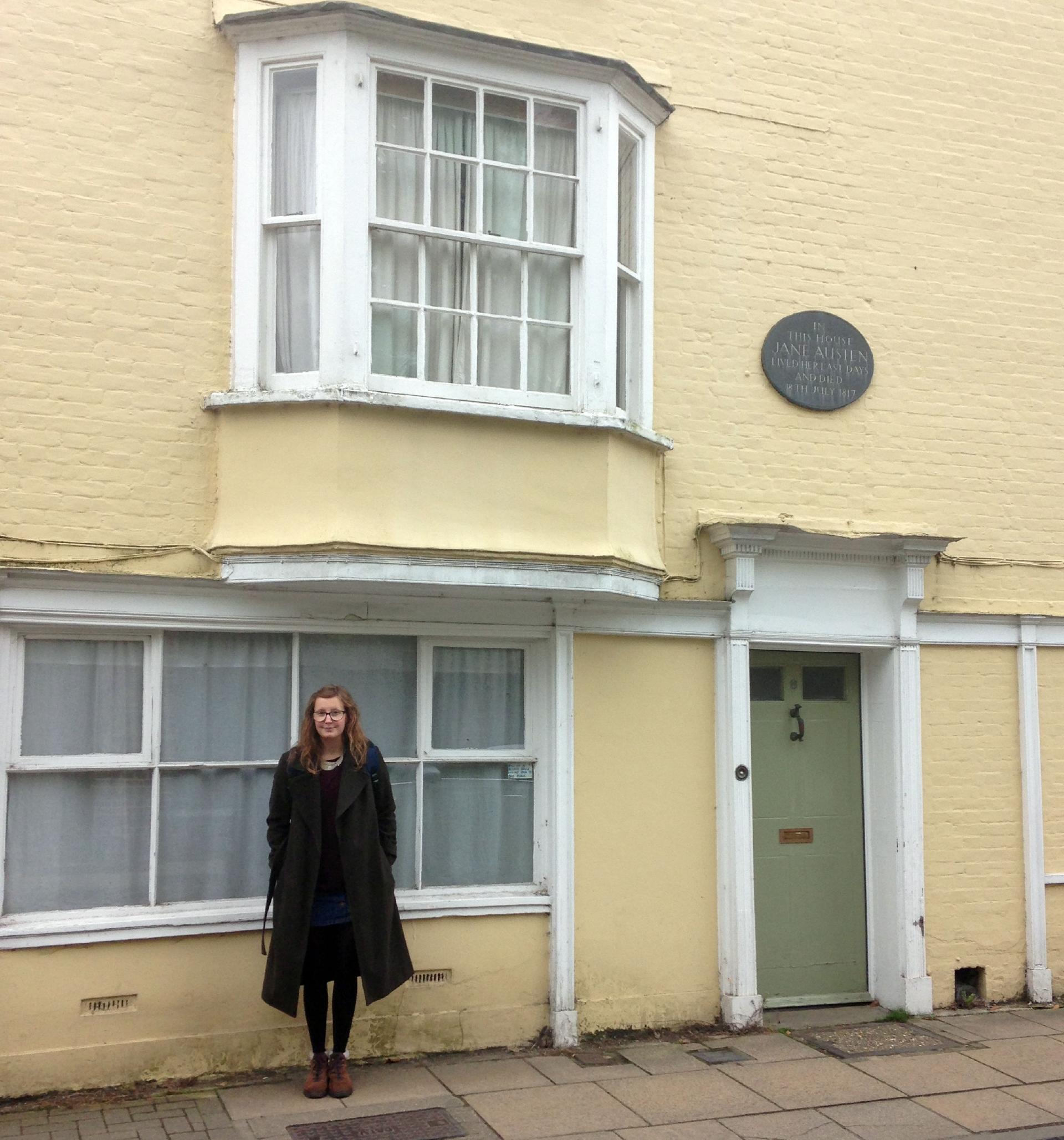 Ella outside Jane Austen's house.