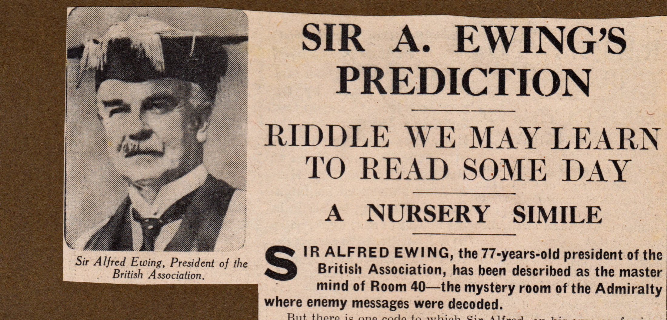 A newspaper cut-out about Sir Ewing, courtesy of his descendants.