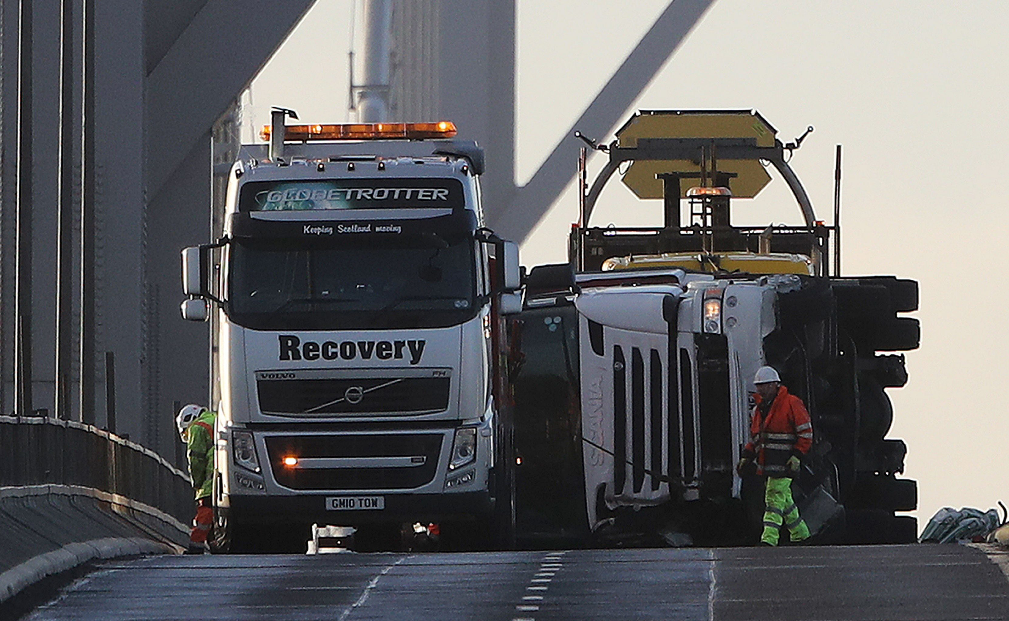 The overturned lorry on the Forth Road Bridge.