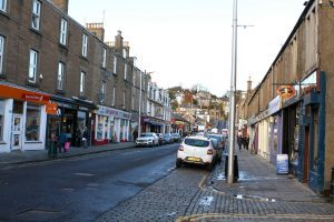 Looking up Gray Street, Broughty Ferry, towards the junction with Brook Street.