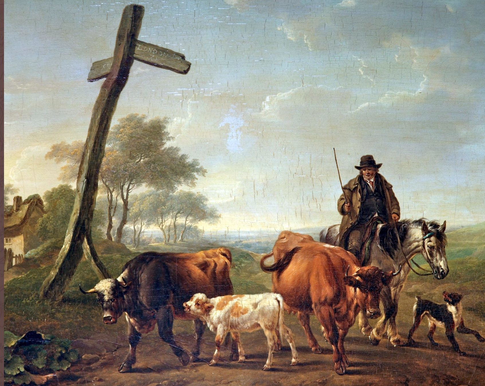 The cover image of the book by Charles Towne (1763-1840),  A Drover on Horseback with a Dog Driving Two Cows and a Calf.