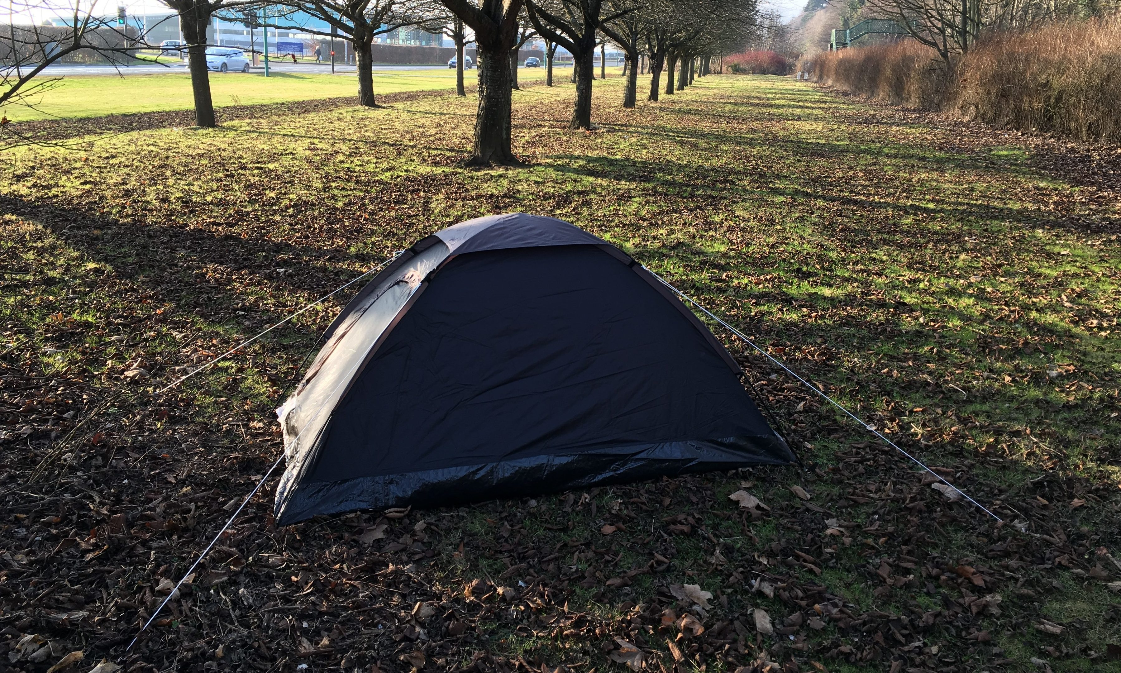 The tent was pitched alongside Riverside Drive.