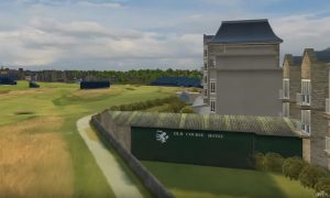A computer-generated image showing how golfers need to aim over hotel outbuildings to find the fairway.