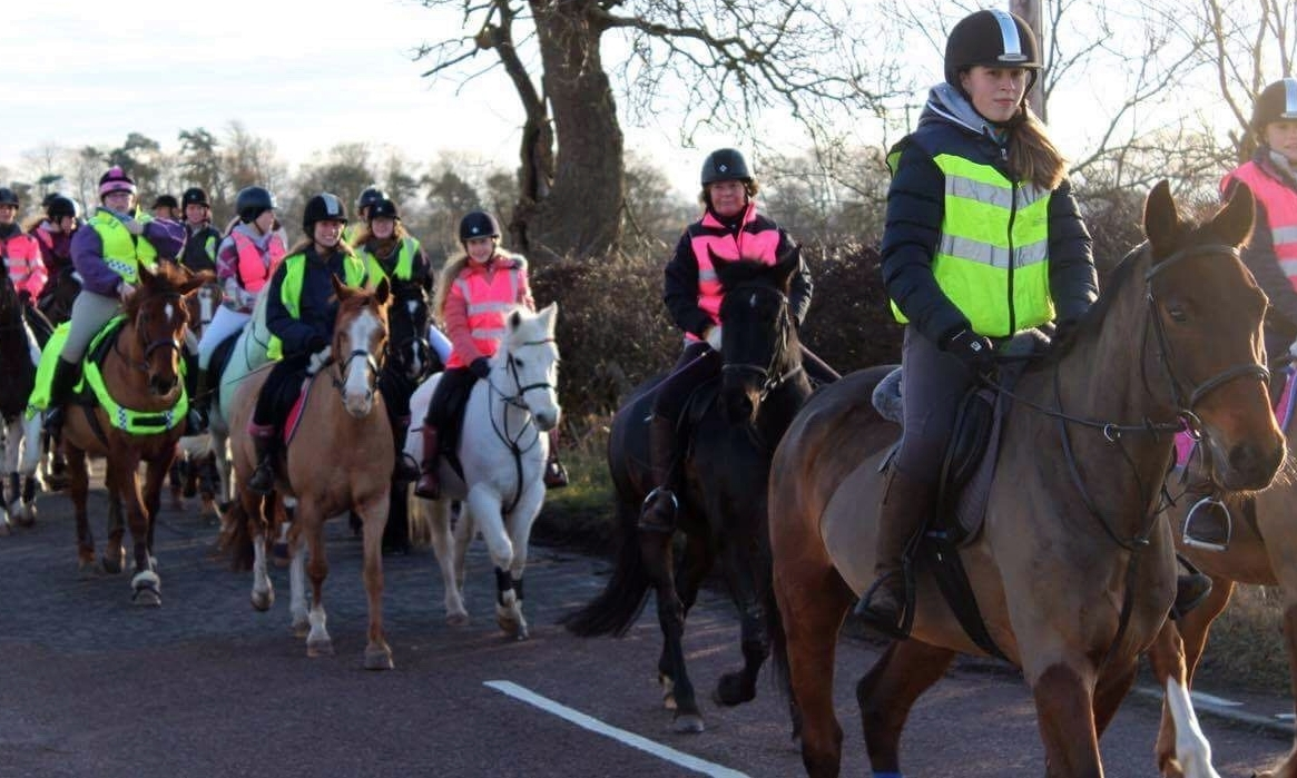 The riders enjoying some dry weather for their trek.