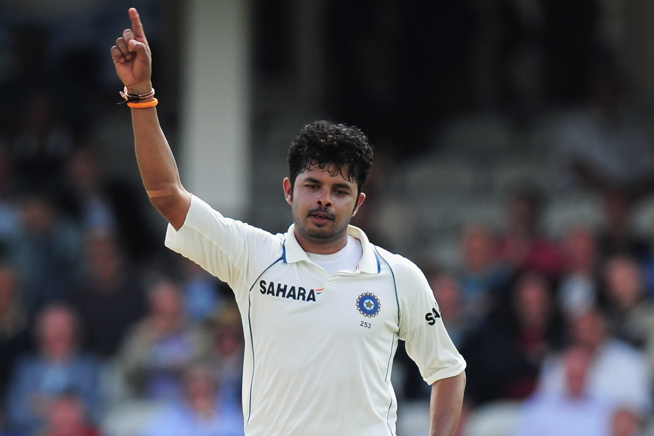 Sreesanth celebrates the wicket of Eoin Morgan of England a test match between England and India in 2011.