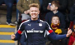 Dundee's Mark O'Hara celebrates his first half goal.