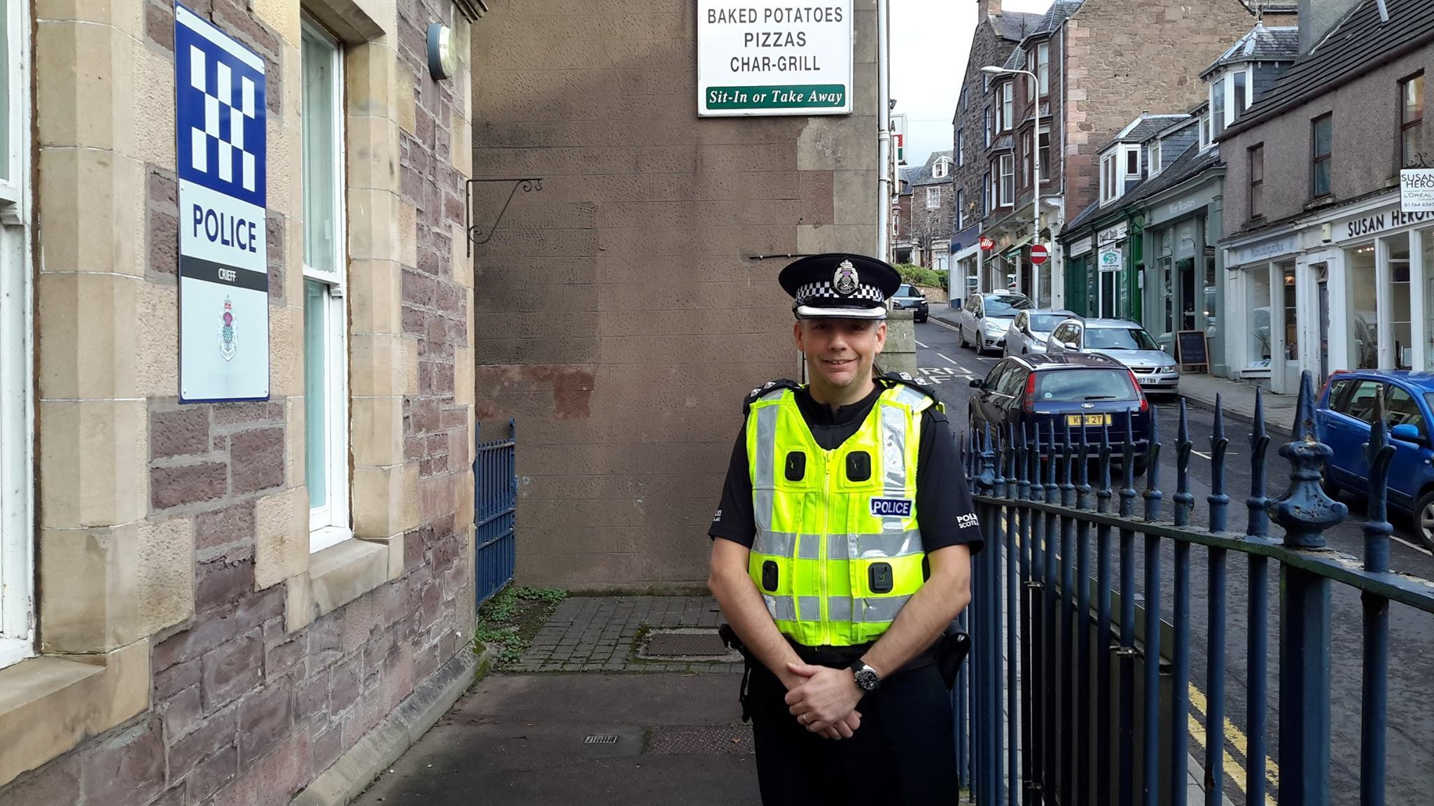 Inspector Kevin Chase pictured outside Crieff Police Station.