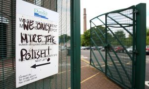 Anti Polish graffiti on a sign at Dundee City Council, Marchbanks Depot on Fairfield Road.